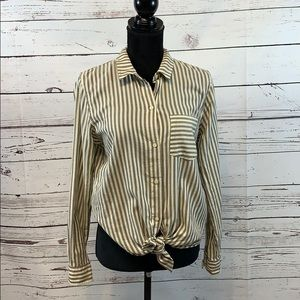 Madewell Women's Striped Long Sleeve Tie blouse M